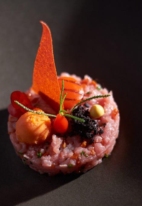 Assiette tartare bœuf poivrons restaurant tournai français